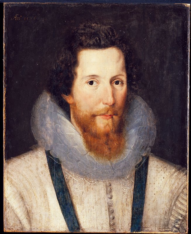 Portrait of a man. Portrait of Robert Devereux, Second Earl of Essex. (1970 catalogue states 'oil on panel, mounted on aluminum')