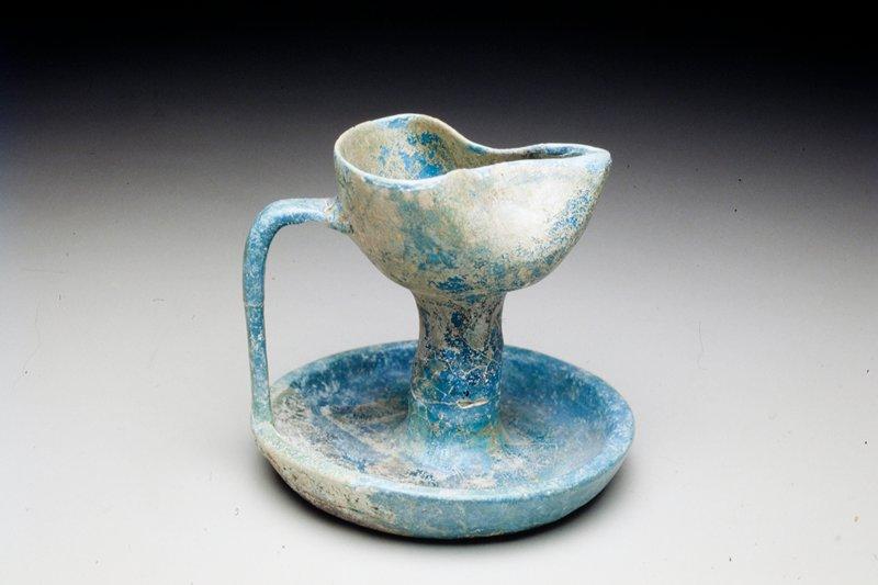 strap handles; blue glaze