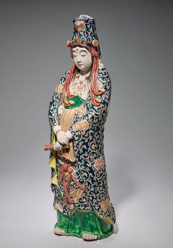 statuette; Satsuma style; Kuanyin standing, holding a scroll