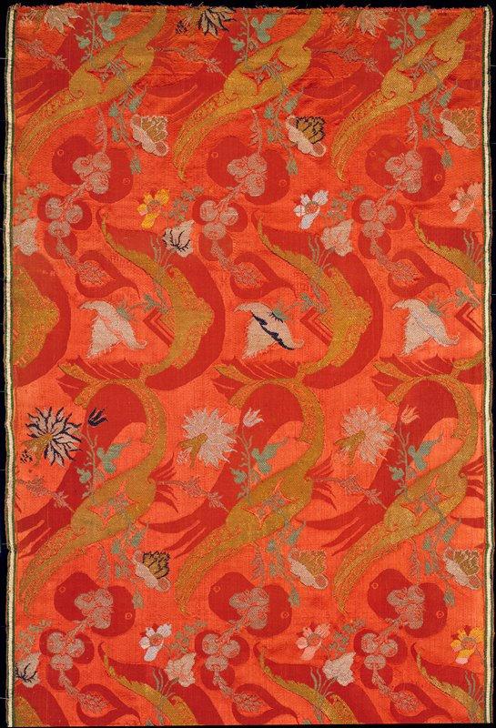Bizarre brocade work, pink ground with red, gold, silver, and green floral decoration; silk, gold, and silver threads