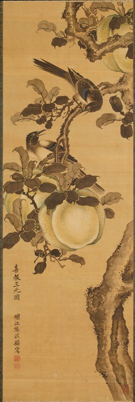 partially hidden, twisting fragment of a tree dominates the composition which contains a pair of magpies and three large fruits hanging from the branches