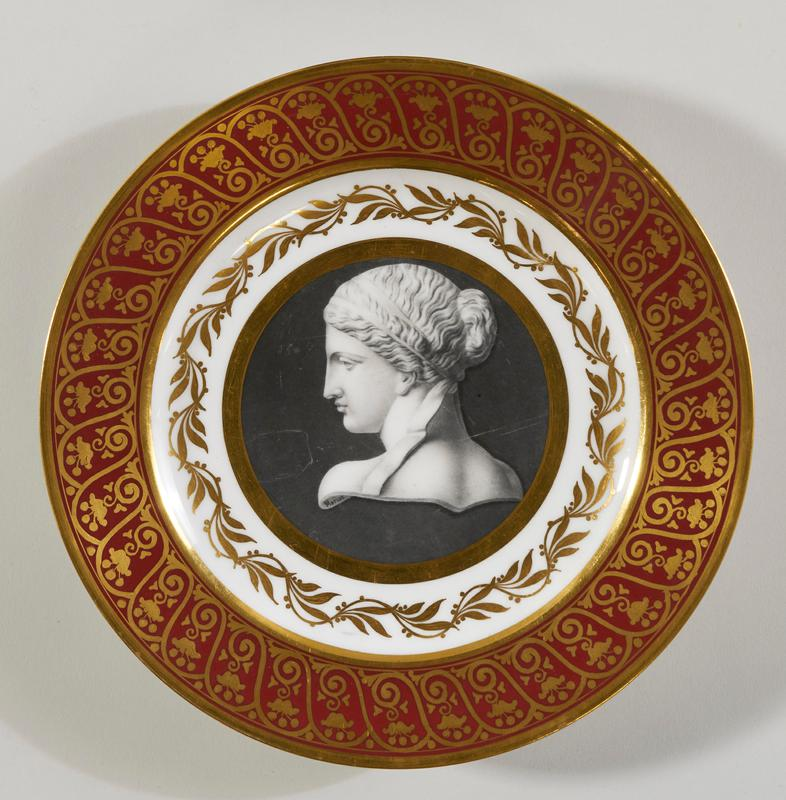 Plate, ceramic-porcelain, red and gold border, classic head of woman in center signed 'Moriot' 1808, French, XIXc cat. card dims H 1-1/6 x diam 9-1/8'