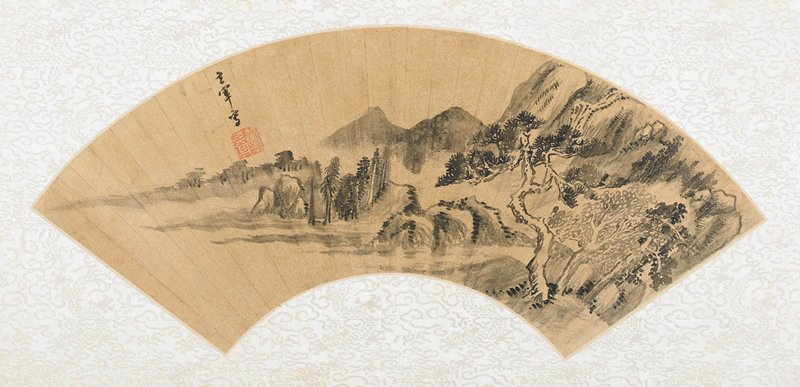fan mounted as an album leaf; prominent pine tree in the foreground at right side, moving left and disappearing into the mist are three peninsulas covered with rocks and pine trees