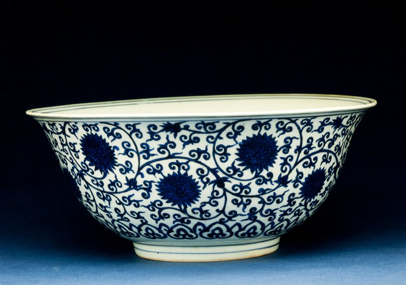 Bowl, porcelain with lotus decor in underglaze blue, Ming Dynasty, Chia Ching mark and period, 1522-66.