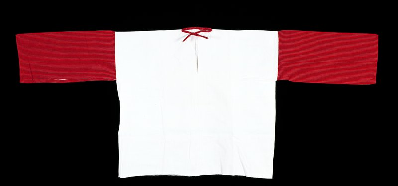 plain weave; white body with red sleeve with thin black and gray stripes; tie at neck is same as sleeve fabric