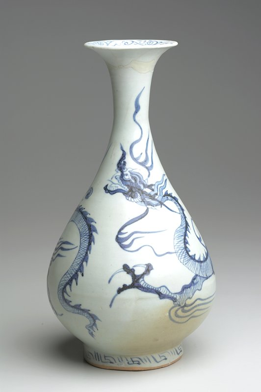 dragon vase, pocelain, Yuan Dynasty, early XIV Century; underglaze blue decor showing 'spiny dragon' motif.