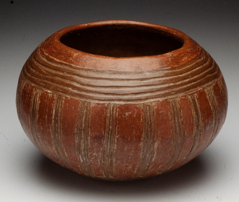 bowl, ceramic, Costa Rican (Nicoya-Guanacast) 500-100BC; clay, red slip, incised lines
