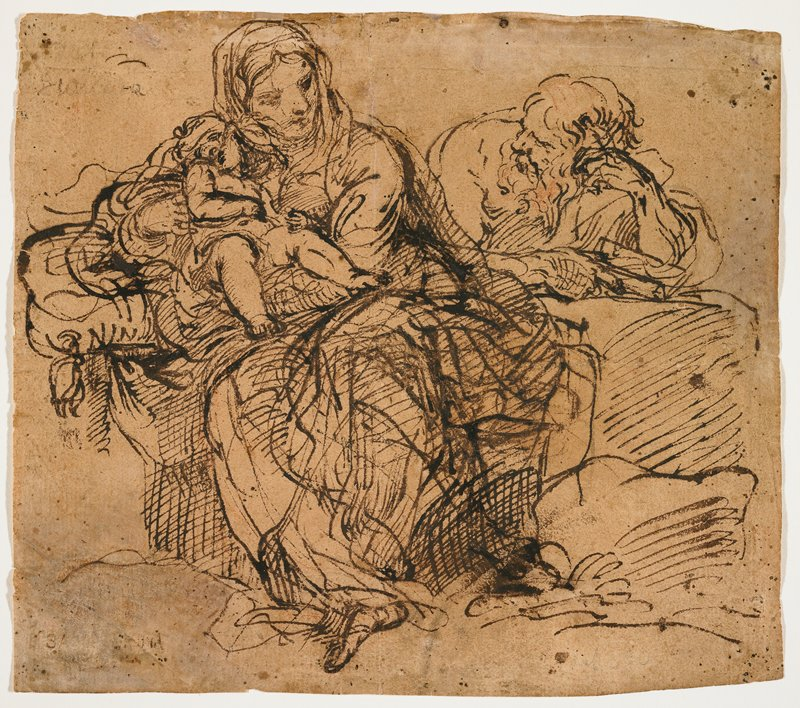 Mary at left, wearing voluminous draperies, holding baby Jesus, with her PR elbow on a cushion; Joseph seated behind a rock (?), resting his head on his PL hand and holding a book in his PR hand; sketchy