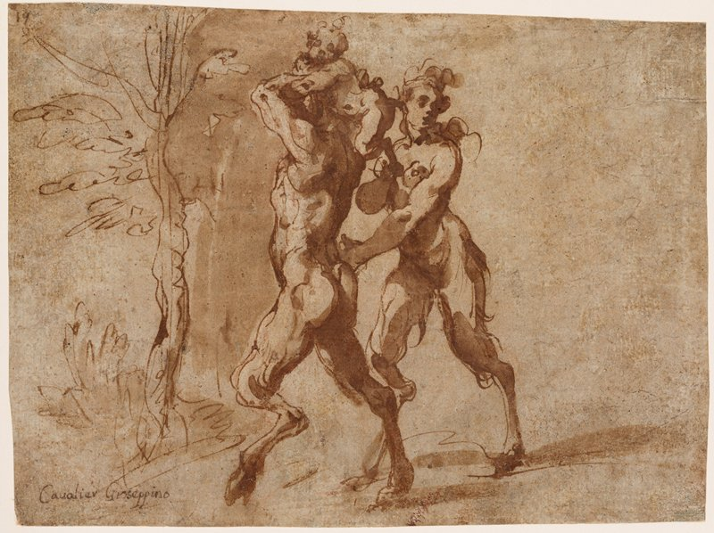 mounted on ivory paper; male satyr at left, seen from PL side, pulling a baby satyr up against the back of his head to ride on his shoulders; female satyr at right, with her PL hand on male satyr's hip; sketchy tree at right