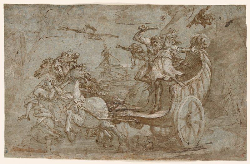Pluto driving an open chariot pulled by four horses, holding the gesturing Persephone by the waist; running figure in front of horses; two putti fly over chariot; verso not examined (received framed)