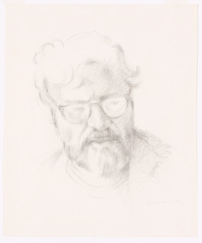 sketch of head of man with wavy hair--long on top of head--and short beard and moustache, wearing glasses