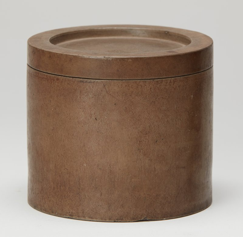 cylindrical container; grey ceramic; heavy base