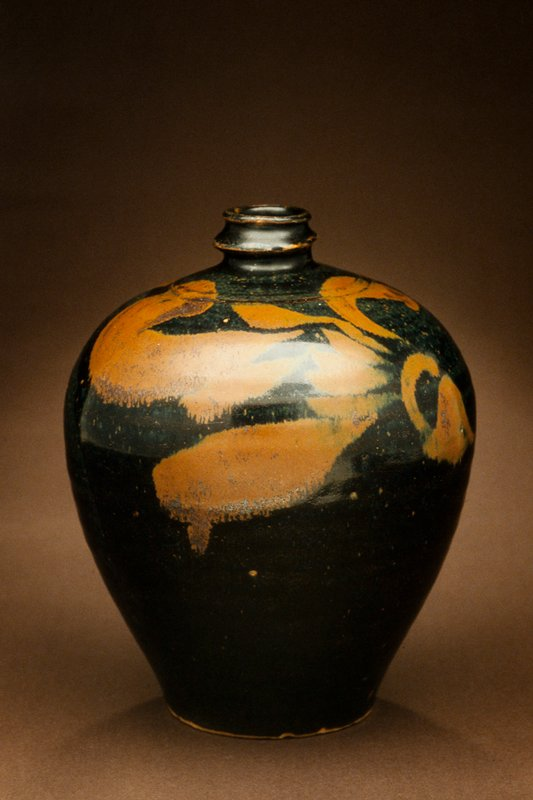 Honan Jar, stoneware; black with splashed-brown glaze