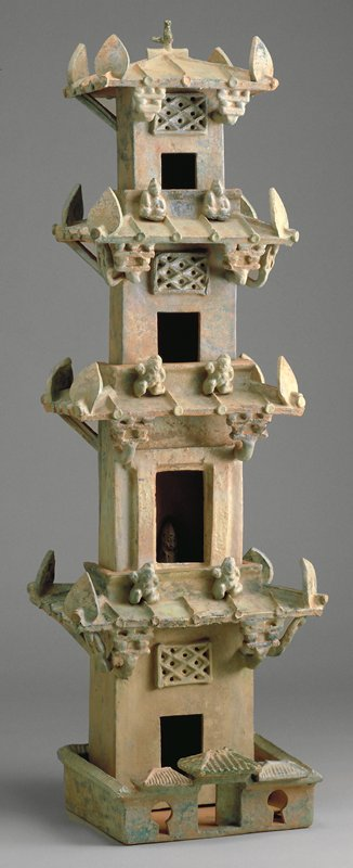 model of watchtower, red earthenware with green glaze
