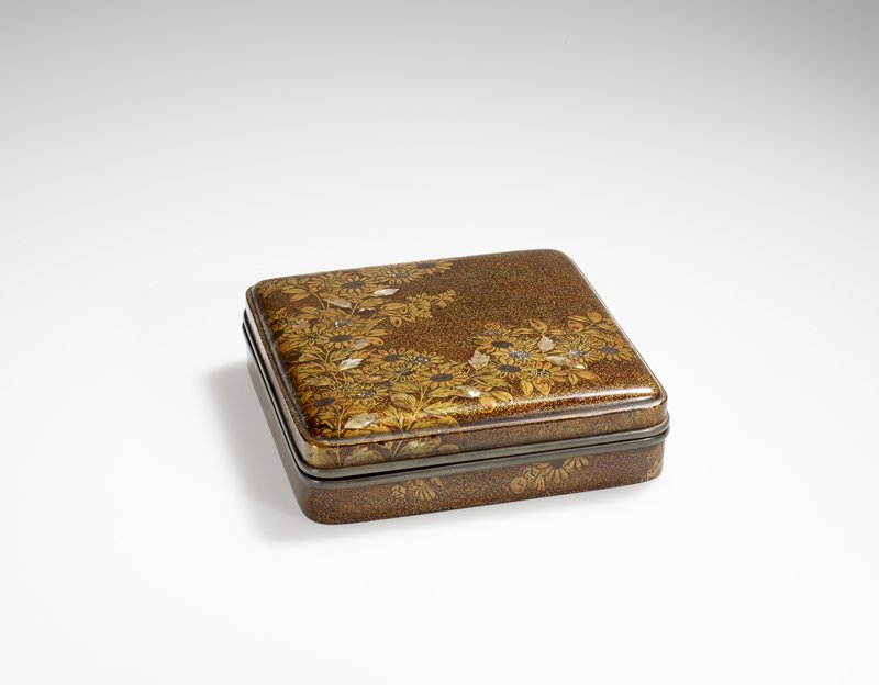 Square Lacquer box (for storing incense?), chrysanthemum design on exterior with butterfly design on interior of lid; black lacquer, maki-e and mother-of-pearl shell inlay, and metal