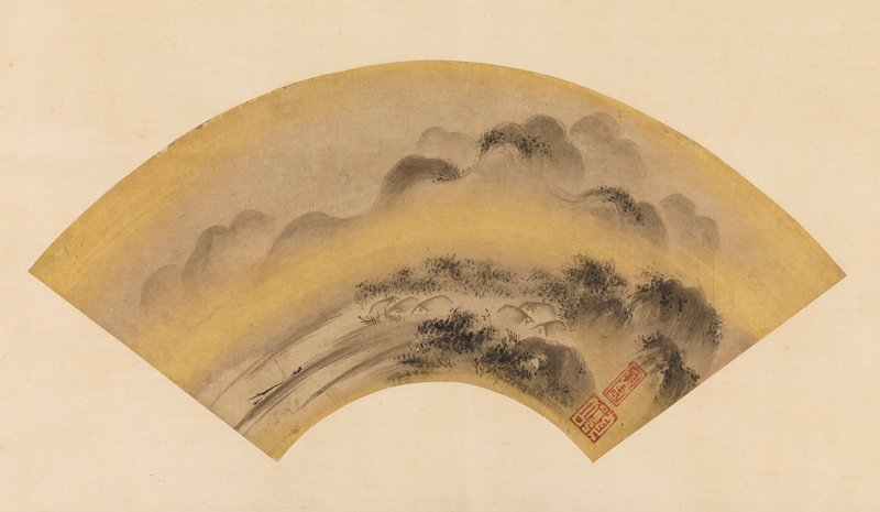 mounted fan painting; thatched rooftops of a mountain village amid rounded mountain tops and golden fog; billowing mountains in background; shoreline at L with skiff; clouds are gold pigment