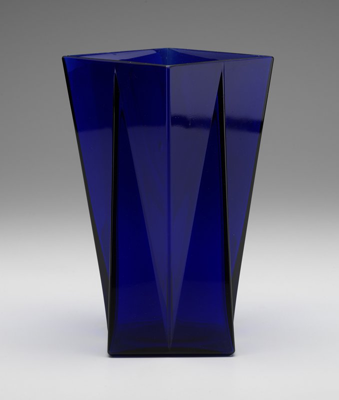 Blue glass molded in a geometric form