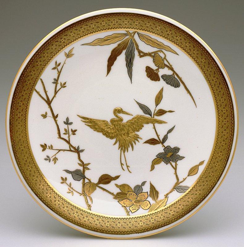 made for Bailey, Banks & Biddle; Philadelphia PA aesthetic gilt and silver decoration, Japanesque crane design