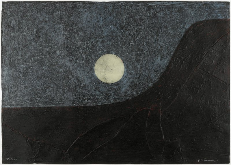 "abstracted landscape; red-brown mountina shape with lines, ""cracks""; mottled blue-black sky; pale yellow moon orb"