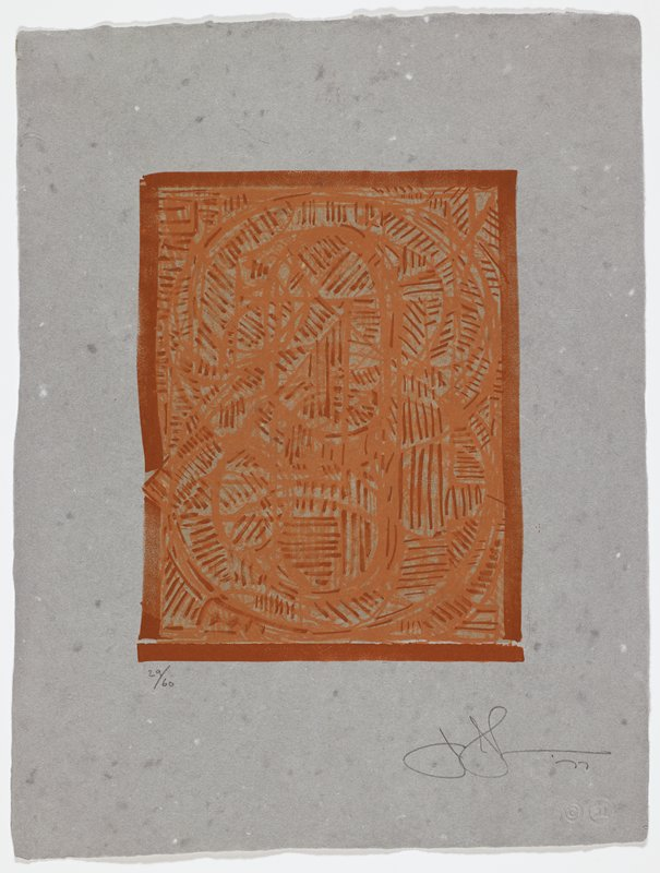 shades of rusty red lines and circles within a rusty red rectangular frame on grey paper