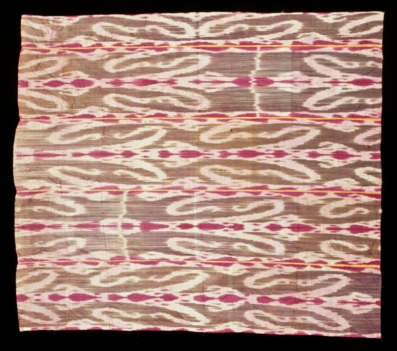 abstract ikat; five (four full, 1-1/2 panel) panels seamed together; fuschia, pink, grey, yellow selvedges