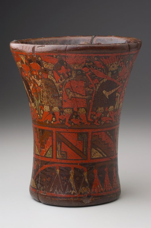 A Colonial Wood Beaker, A.D.1470-1560 of flaring shape painted in ochre, reddish orange and pale green with a procession of weapon-bearing Inca dignitaries, each clothed in a cape and feathered headdress, followed by two European-attired personages.