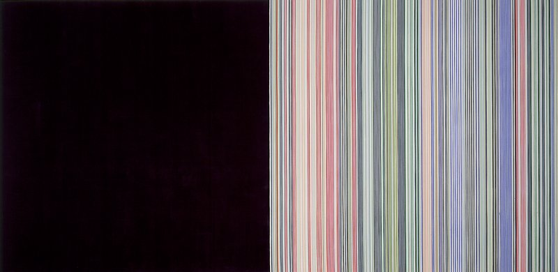 Multi-colored vertical stripes on right side of canvas, with left side of canvas painted black.