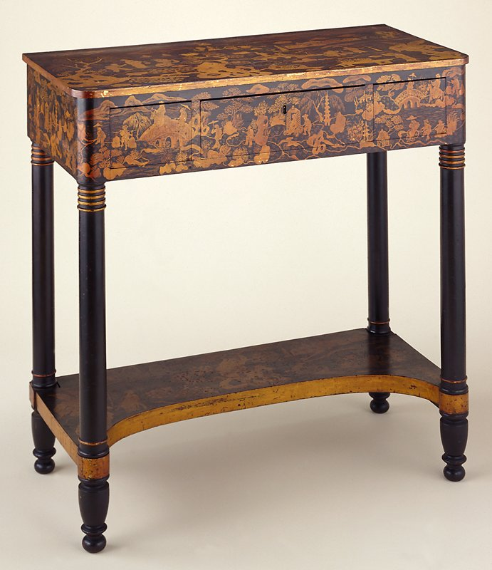 black ground and gilt, narrative, panoramic decoration; f key to drawer is in key cabinet MS; painted Chinoisorie decoration