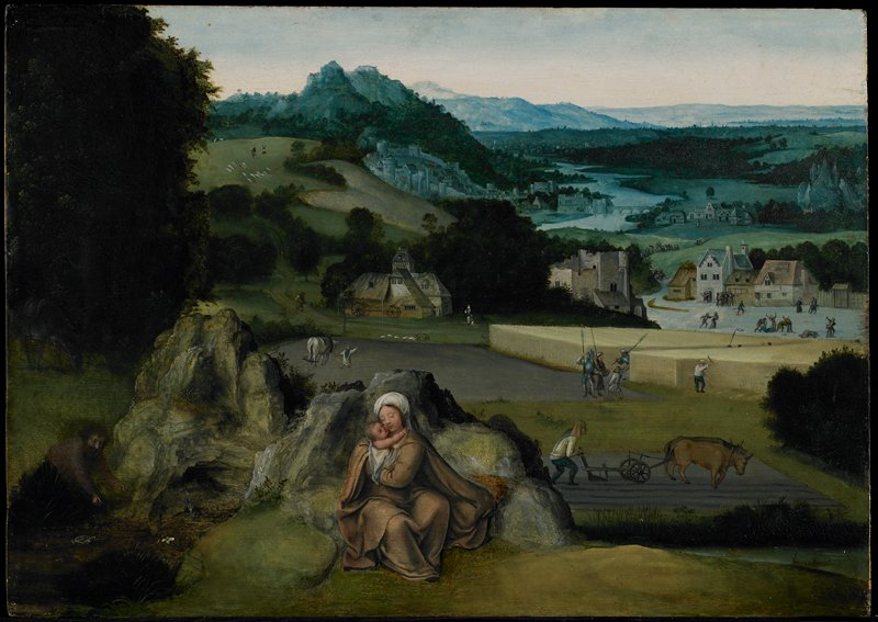 Religion: NT. Madonna and Child. Rest on the Flight into Egypt. Virgin and Child seated on rocky mound in foreground. Joseph fills water bottle at a little pool on the left. Herod's soldiers question the farmer who points to a field of wheat. Small Flemish village in the right background, in front of which is enacted the Massacre of the Innocents. Trees, hills, winding river form fanciful landscape background.