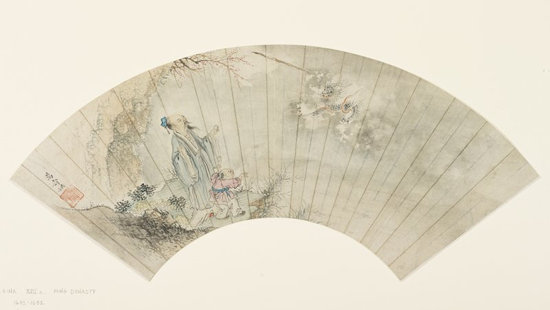 old Daoist magician stands on a bluff by a pond, a small boy at his side, bamboo stick he throws into the air is transforming into a dragon; matted