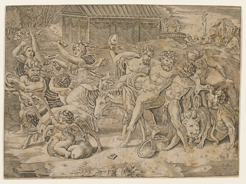 Silenus on a mule, supported by two satyrs, while other satyrs and Bacchantes celebrate Bacchus by drinking, dancing, and playing with goats; a herm of Priapus in the distance.