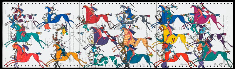 triptych; three panels of computer printout paper with side roller track intact; running horse with Native American rider, a running Euro-American is in front of horse, carrying a piece of paper with writing and saying the name of a Native American tribe; movement to the left