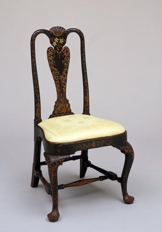 Slat back Chair, walnut, American XIXc loan form dims 40 x 21 x 18'