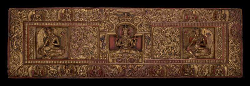 This book cover originally protected the Buddhist manuscript known as 'Prajnaparamitasutra' (The Perfection of Wisdom); three seated figures across central panel--central figure is 'Prajnaparamita'; two of her four hands hold a 'vajra' and a sutra; the other two are in the 'abhaya' and 'dyana' positions; Padmapani stands to her right and Green Tara to her left; six smaller Buddhas are seated across the bottom of the border and four are seated across the top; foliate forms and mythological beasts are between the Buddhas
