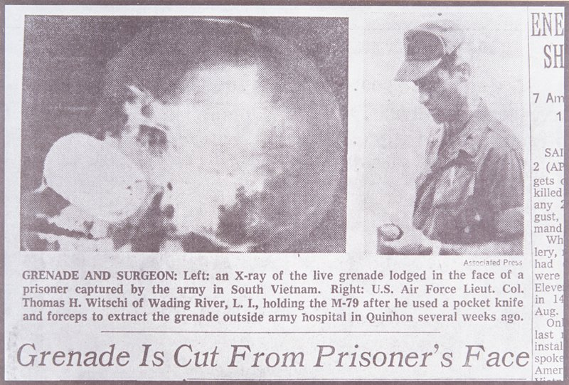 two newspaper photographs one of an x-ray of a skull, the other of an Air Force Lieutenant looking down at the grenade in his hand
