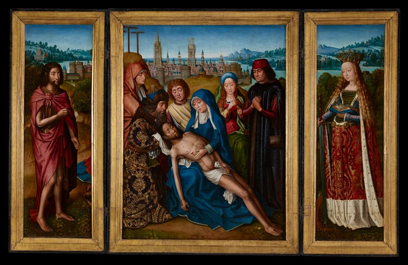 Religion. Central panel is a Pieta with an elaborate view of 15th century Bruges in the background. Donors included with saints in the scene. Left wing - St. John; Right wing - St. Catherine Figures of Christ, Mary and Saints all portraits of real people. Artist was primarily a portraitist though fashion of the time demanded religious pictures. Rich costumes of St. Catherine in right wing and donors in central panel reveal artist's interest in color and rich fabrics. People grouped tightly in foreground with little space around them. Space extends backward into picture but not forward.  View of Bruges in background characteristic of this painter's work. The non-religious figures save Catherine, surpass the others, and show genuine bent for portraiture. The Spanish cast of Christ's features an unusual detail.  STYLE:  Flemish paintings in oil on panel derive from earlier schools of manuscript illumination and reveal their influence in: - Colors which are brilliant and harmonious with enamel-like hardness of finish. - Delicacy of technique and proportion. - Minute and sympathetic rendering of landscape. - Long flowing lines in the tradition of the International Style. Grace of pose and gesture also characteristic of this style.