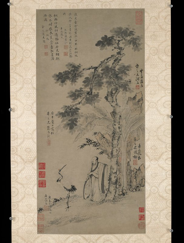 A rare collaborative hanging scroll in ink on paper for Mr. Hsi-chih; the scholar with fan by Chang Feng-I dates 1630, the crane by Ch'en Chia-yen, the rock by Yun-lo, the wu-t'ung tree by Yuan Shang-t'ung, the banana by Wu Ling, with colophons by the close friends Wen Ts'ung-chien (1574-1648) and Shao Mi (1594-1642); peach-colored silk scroll; roller ends of dark green marble