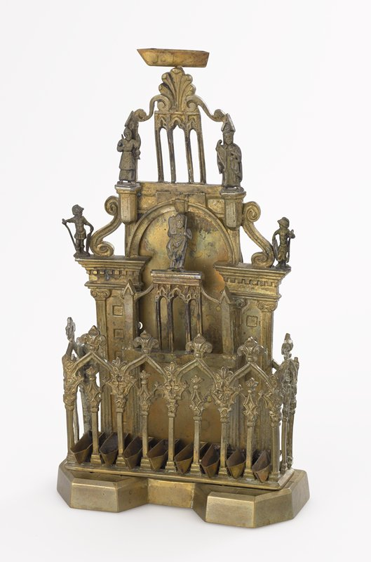 Italian, Gothic revival style oil lamp menorah; top oil holder separate