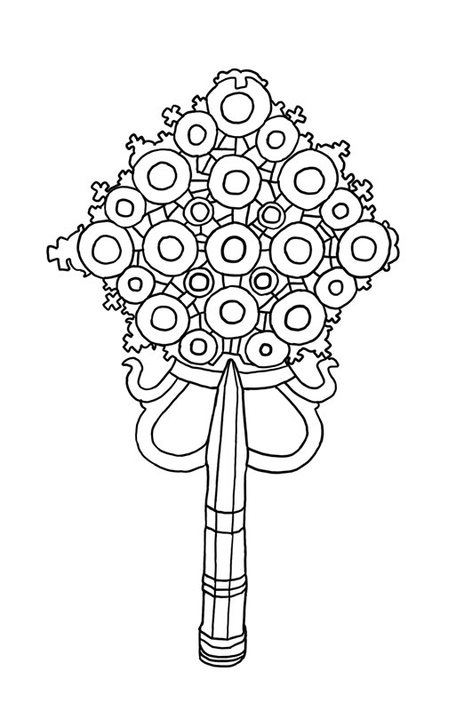 circular openwork design with motif of small crosses on a shaft; 2 teardrop shaped loops on bottom of circle and 2 J shapes next to them