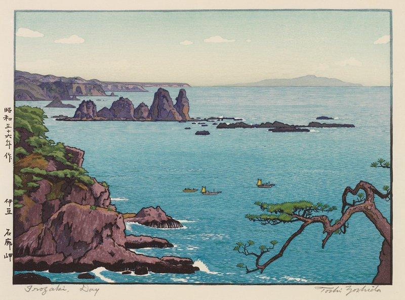 bay with three small boats below center; branch in foreground LRC; clear horizon