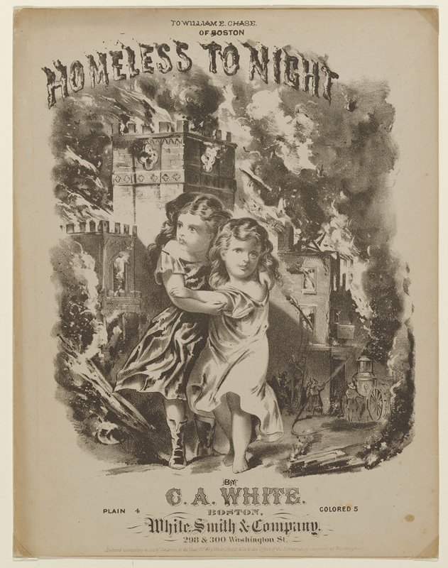 Illustrated sheet music cover. Two young children, the orphans of the song, clinging to each other. Behind them are a burning street and a fire engine. The Gothic church in the background is Trinity Church on Summer Street in Boston. which was destroyed in the fire on November 9, 1872.