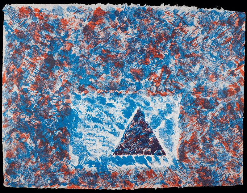 Abstraction featuring a small rectangle and overlapping triangle surrounded by a sea of red and blue markings