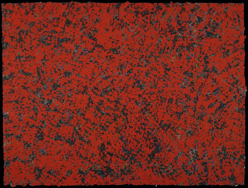 Abstract expressionist composition; predominantly red with areas of blue, black and green