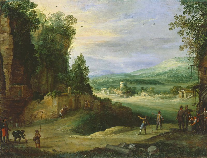 Dutch Golden Age. Landscape with figures. Genre. In the foreground, a group of men playing ancient Dutch game of 'kolven' (golf). Middle distance, tower surrounded by a wall. In the distance, cottages and mountains. Rocky landscape to immediate left.