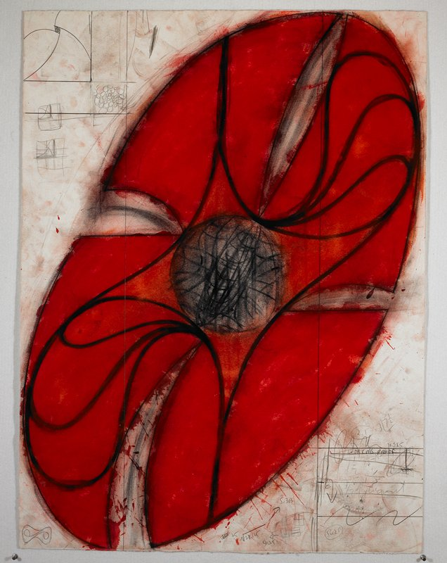 Sculptural abstraction featuring a large red elliptical object with an orange center surrounded by black spiraling lines. Print with hand-drawn additions.