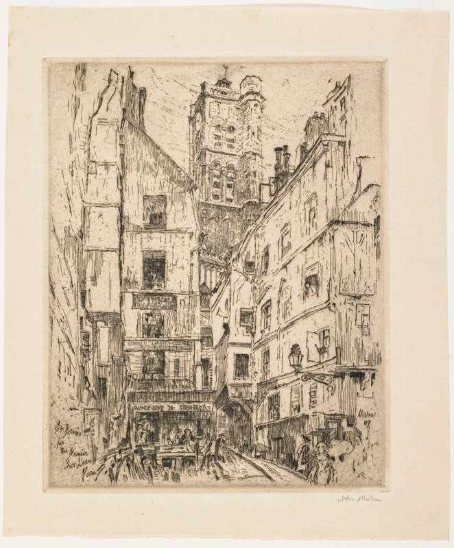 narrow city street with tall buildings; sketchy style; lamp on bracket, LRQ; several very sketchy figures in windows and on street; clock tower at center background
