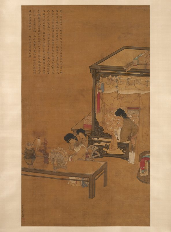 woman seated at a table with another woman behind her, arranging the seated woman's hair; third woman making a bed at right