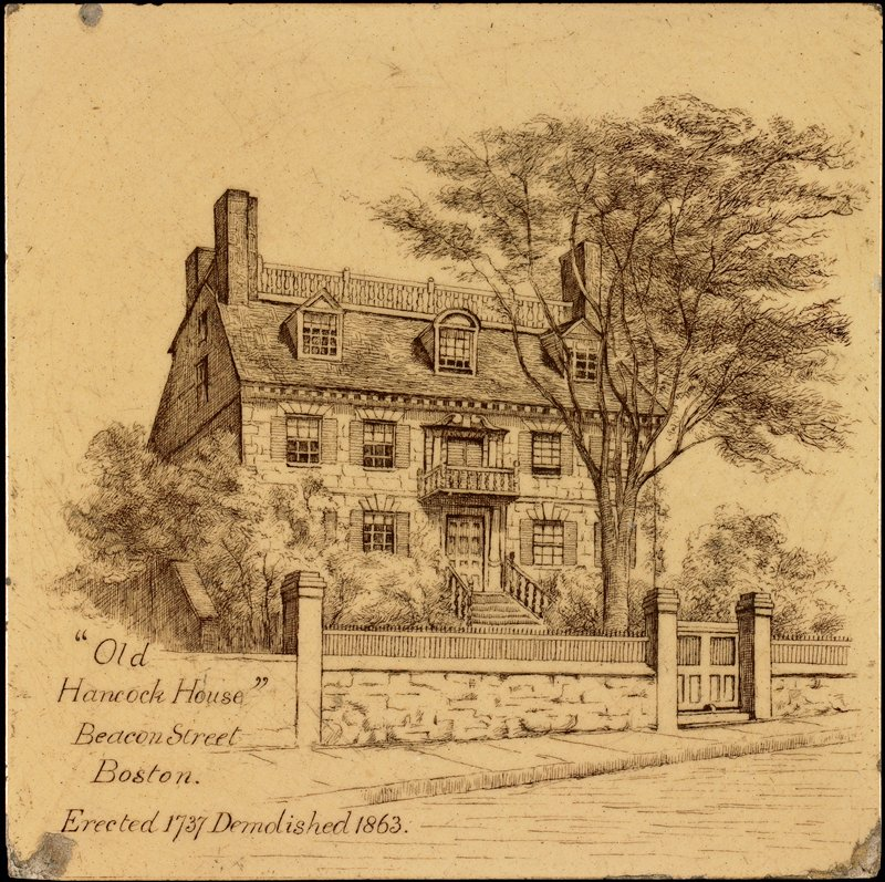 """tan ground with brown transfer decoration of house; LLC: """"""""Old/Hancock House""""/Beacon Street/Boston,/Erected 1737 Demolished 1863."""""""