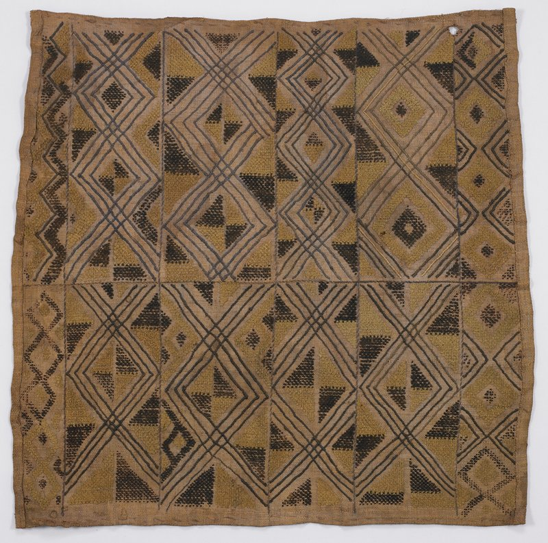 8 rectangular panels with triangle and diamond motifs; 4 small rectangles with same motif; tan and brown