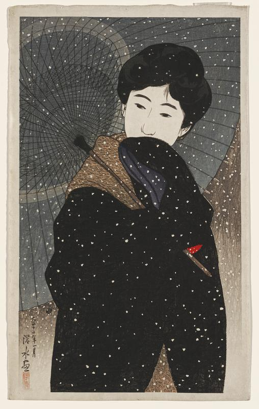 portrait; head and torso of woman with a grey umbrella and a black coat, standing in falling snow
